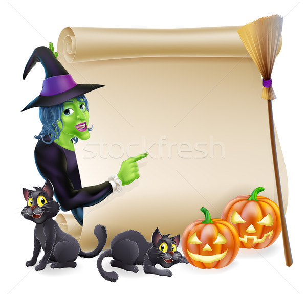 Witch Scroll Halloween Banner Stock photo © Krisdog