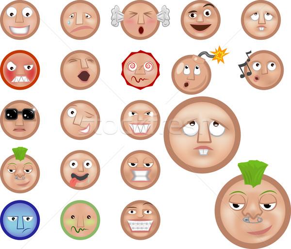 Emotikonok ikon gyűjtemény szett mosoly arc boldog Stock fotó © Krisdog