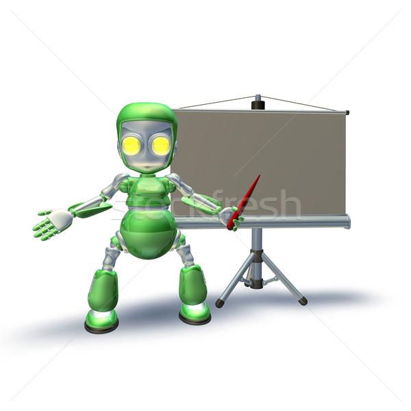 Aranyos 3D robot karakter bemutató áll Stock fotó © Krisdog