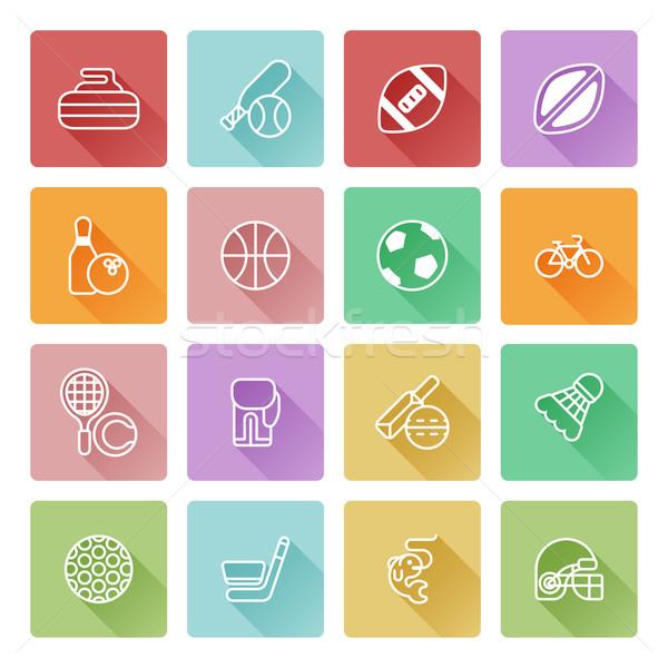 Flat sport icons Stock photo © Krisdog