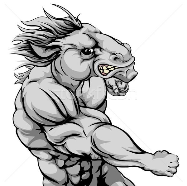 Horse mascot fighting Stock photo © Krisdog