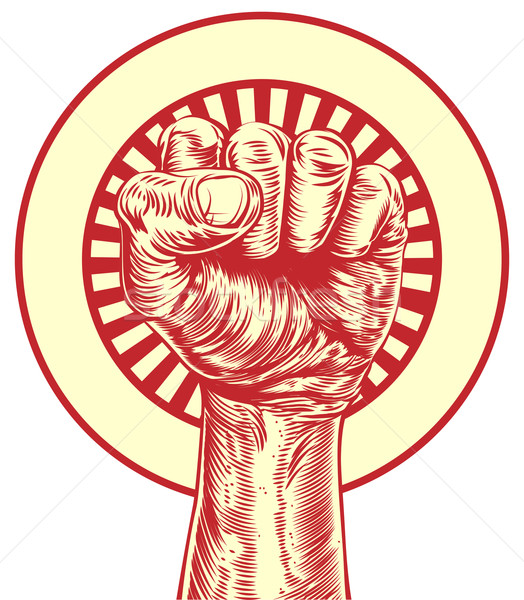 Vintage propaganda fist Stock photo © Krisdog