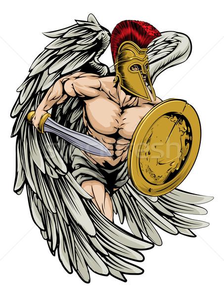Foto stock: Anjo · ilustração · guerreiro · esportes · mascote