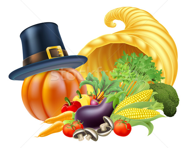 Ação de graças cornucópia dourado chifre completo legumes Foto stock © Krisdog