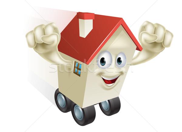 Casa mover Cartoon carácter familia edificio Foto stock © Krisdog