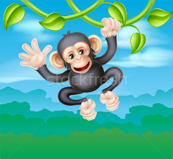 Swinging Cartoon Chimp Stock photo © Krisdog