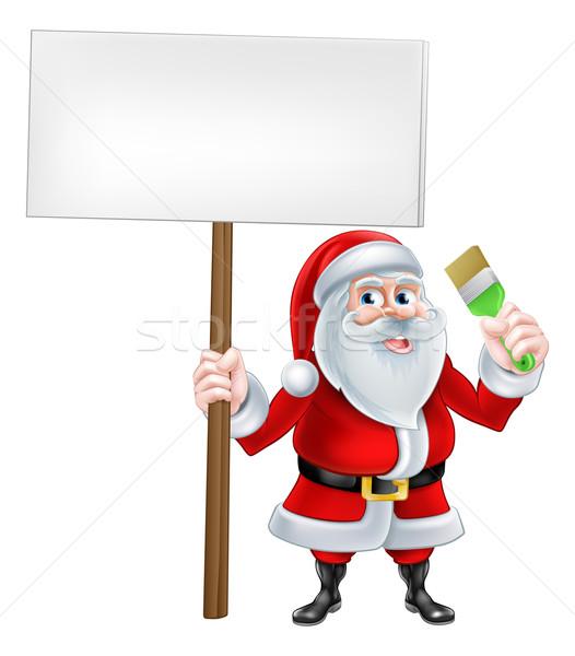Santa Decorator Sign Stock photo © Krisdog