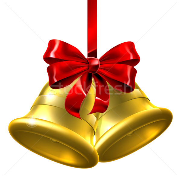 Gold Christmas Bells With Red Bow Stock photo © Krisdog