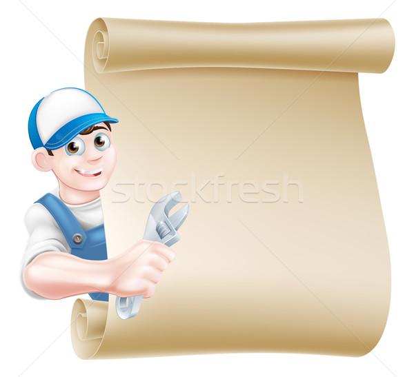 Mechanic Plumber Man Cartoon Stock photo © Krisdog