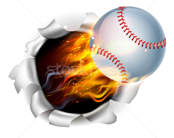 Flaming Baseball Ball Tearing a Hole in the Background Stock photo © Krisdog