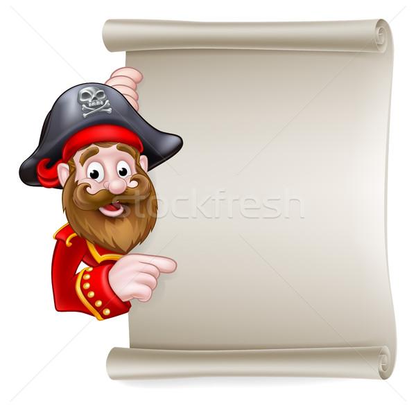 Cartoon Pirate Pointing at Scroll Sign Stock photo © Krisdog