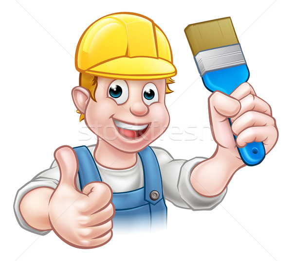 Painter Decorator Holding Paintbrush Stock photo © Krisdog