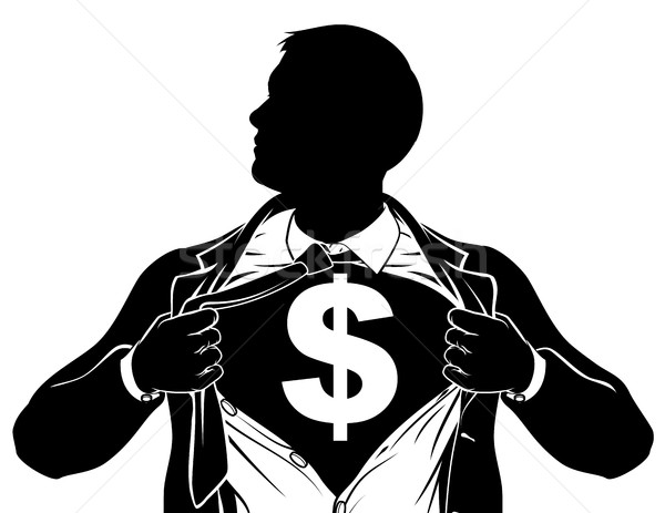 Dollar Business Man Superhero Tearing Shirt Chest Stock photo © Krisdog