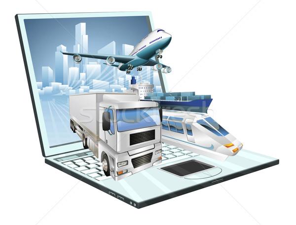 логистика портативного компьютера доставки транспорт плоскости грузовика Сток-фото © Krisdog