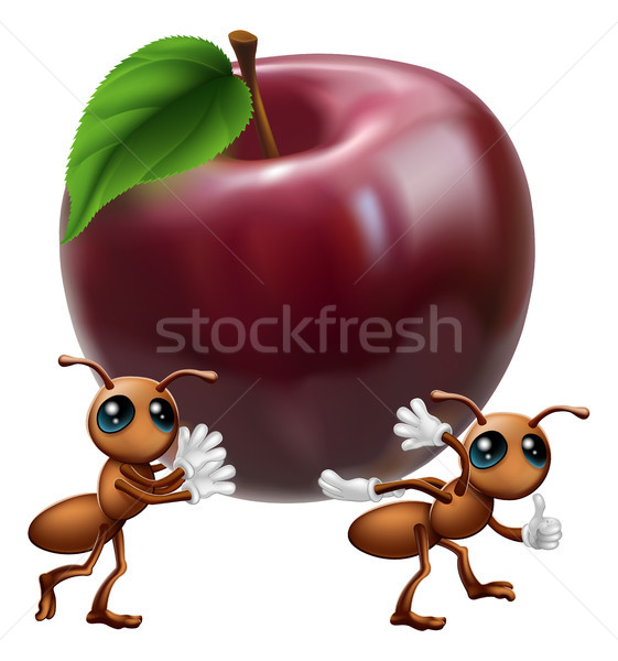 Fourmis grand pomme illustration deux Photo stock © Krisdog