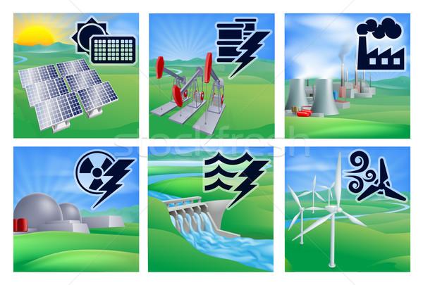 Macht energie iconen verschillend generatie fotovoltaïsche Stockfoto © Krisdog