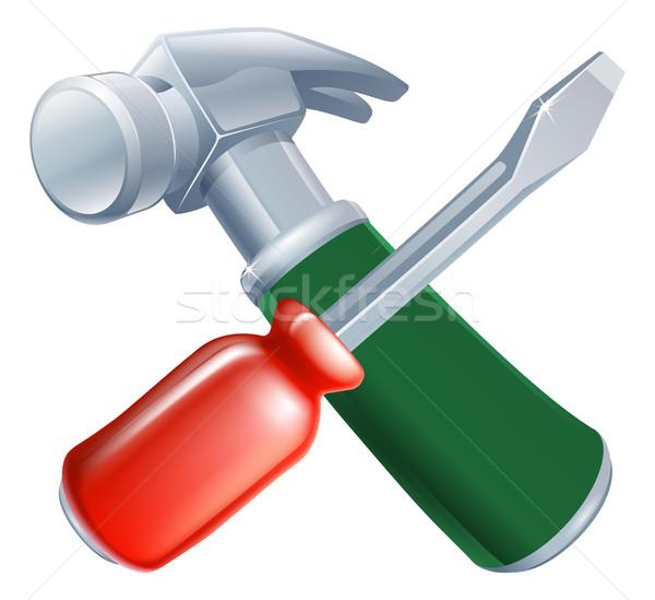 Schroevendraaier hamer tools icon cartoon bouw Stockfoto © Krisdog