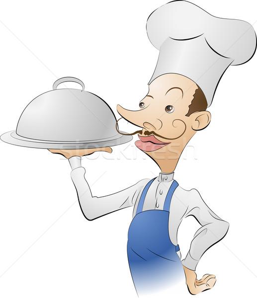 Szakács szakács illusztráció néz elégedett étel Stock fotó © Krisdog