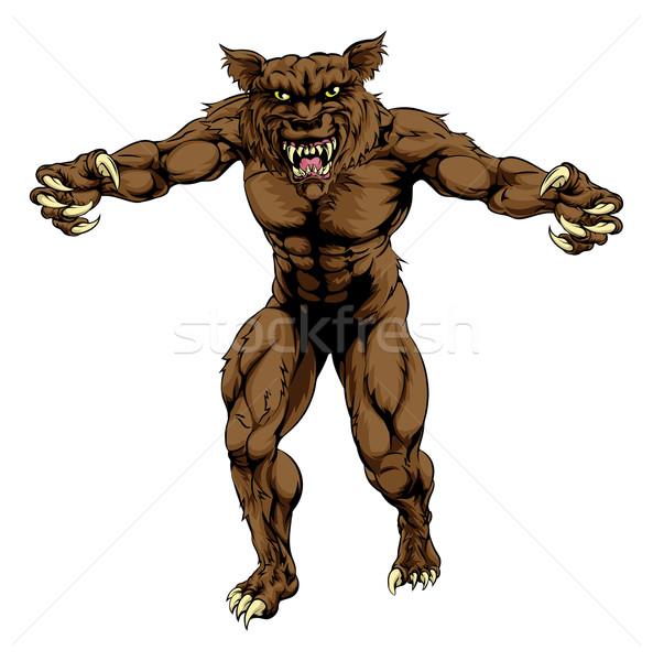 оборотень иллюстрация волка человека спортивных талисман Сток-фото © Krisdog