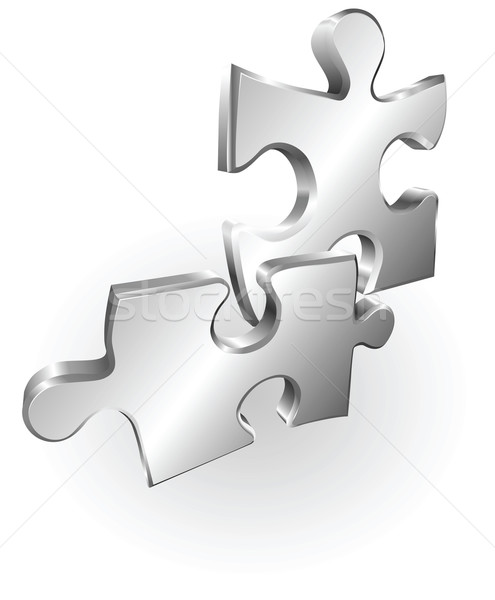silver metallic jigsaw pieces Stock photo © Krisdog