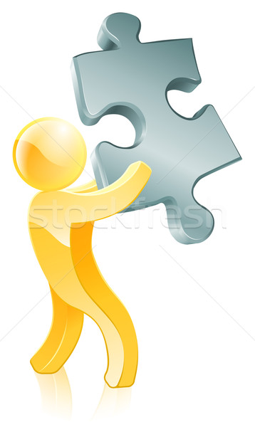 Jigsaw piece person Stock photo © Krisdog