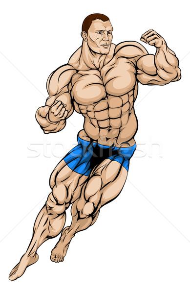 Lutteur lutteur illustration musculaire fort homme Photo stock © Krisdog