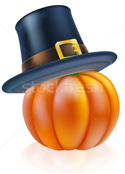 Hálaadás sütőtök zarándok kalap visel háttér Stock fotó © Krisdog