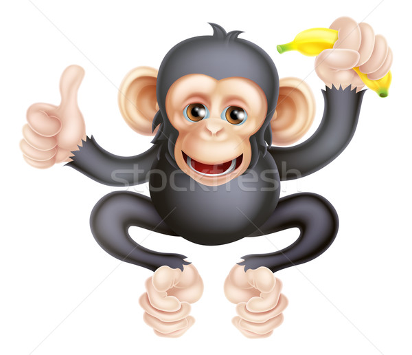 Cartoon Chimp Monkey With Banana Stock photo © Krisdog