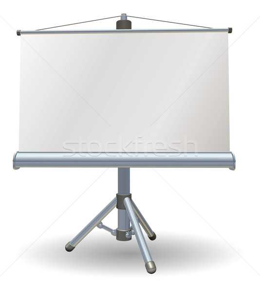 Stock photo: Blank presentation or projector roller screen