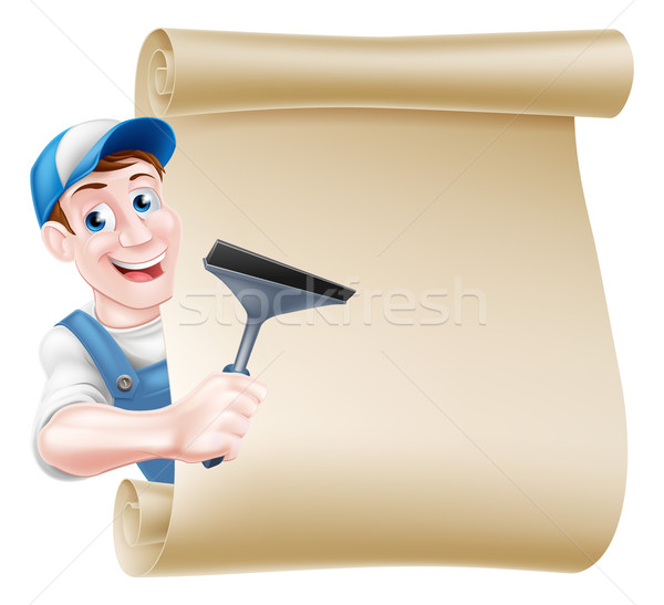 Limpador de janelas desenho animado assinar homem boné seis Foto stock © Krisdog