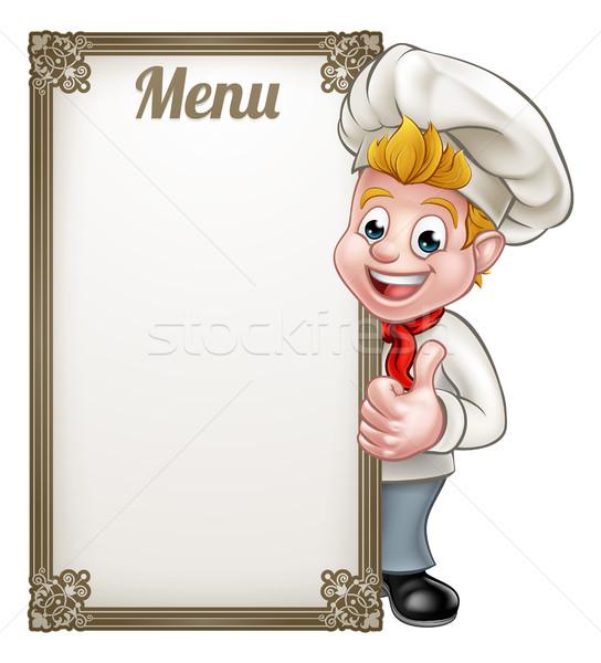 Cartoon chef Baker carattere menu Foto d'archivio © Krisdog
