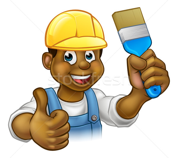Black Painter Decorator Cartoon Character Stock photo © Krisdog