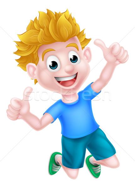Foto stock: Desenho · animado · menino · saltando · feliz · alegria