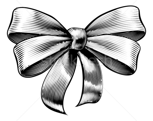 Ribbon Gift Bow Vintage Woodcut Engraved Etching Stock photo © Krisdog