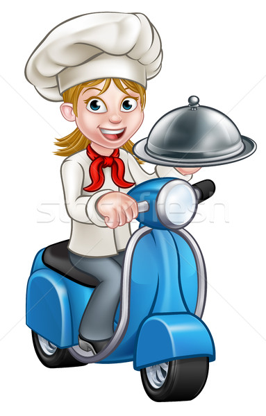 Cartoon Woman Delivery Moped Chef Stock photo © Krisdog