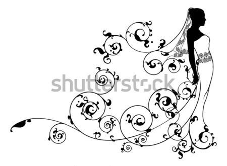 Bride Flowers Silhouette Wedding Design Stock photo © Krisdog