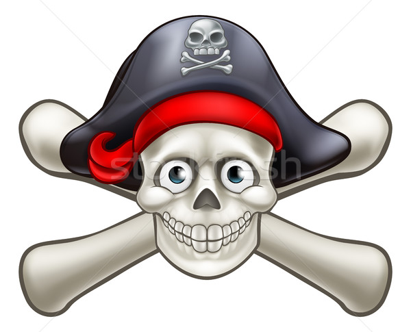 Pirate Cartoon Skull and Crossbones  Stock photo © Krisdog