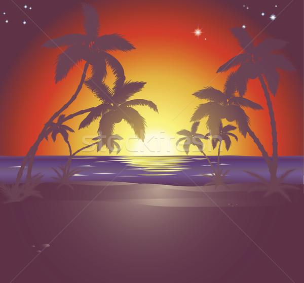 Stock photo: Illustration of a beautiful beach scene at sunset