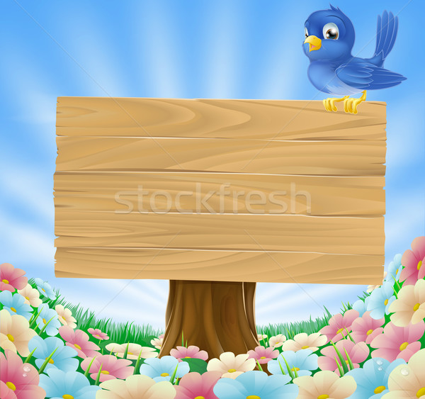 Bluebird sitting on wood sign with flowers Stock photo © Krisdog