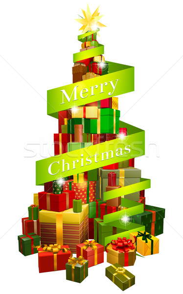 Gifts tree with Merry Christmas ribbon Stock photo © Krisdog