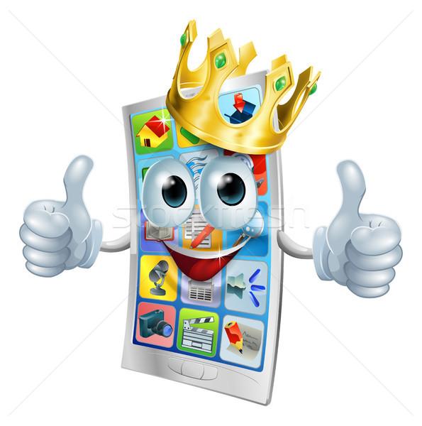 Cell phone cartoon king Stock photo © Krisdog