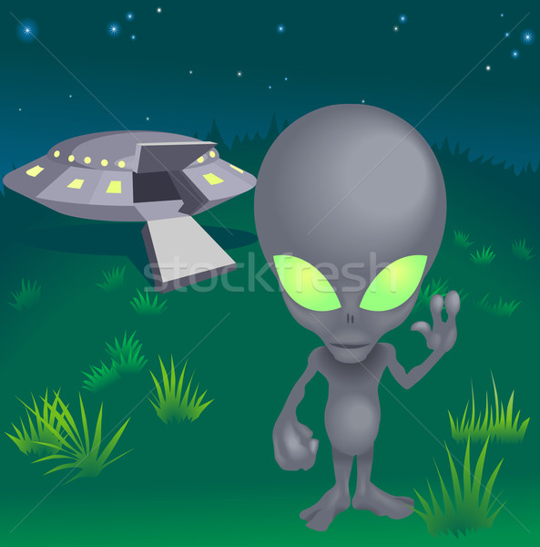 Image of alien and flying saucer Stock photo © Krisdog