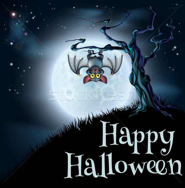 Blue Halloween Moon Bat Background Stock photo © Krisdog