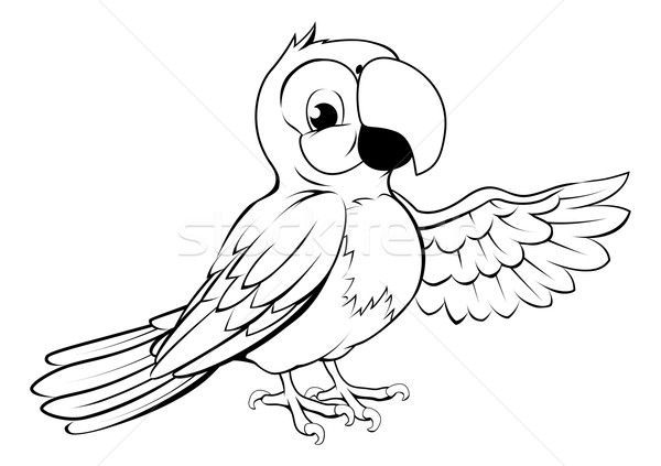 Happy cartoon parrot Stock photo © Krisdog
