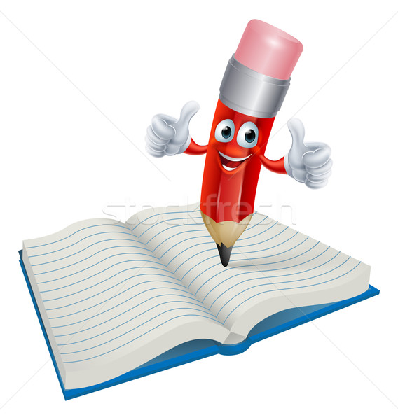 Cartoon Pencil Man Writing in Book Stock photo © Krisdog