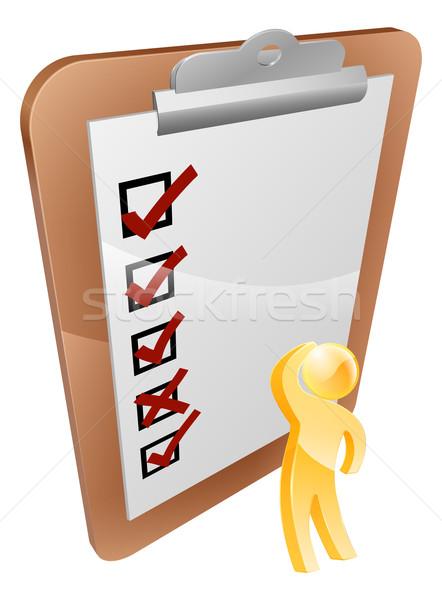Thinking clipboard person Stock photo © Krisdog