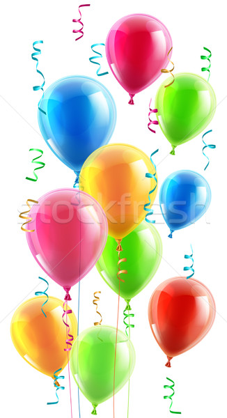 Birthday or party balloons and ribbons Stock photo © Krisdog
