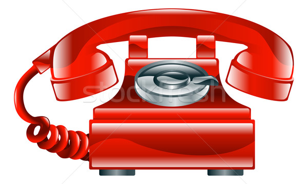 Shiny red old fashioned phone icon Stock photo © Krisdog