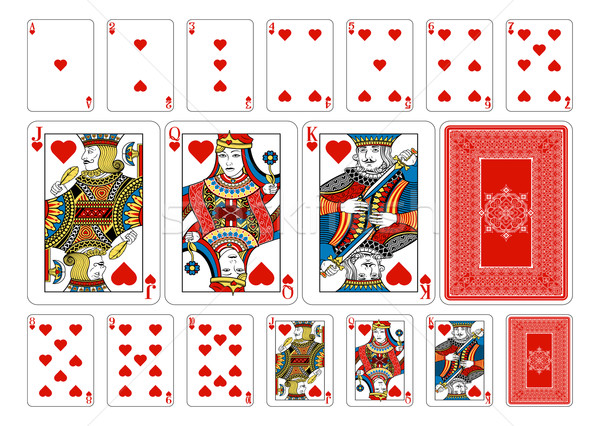 Poker size Heart playing cards plus reverse Stock photo © Krisdog