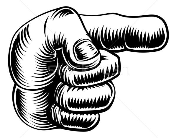 Vintage hand pointing finger Stock photo © Krisdog